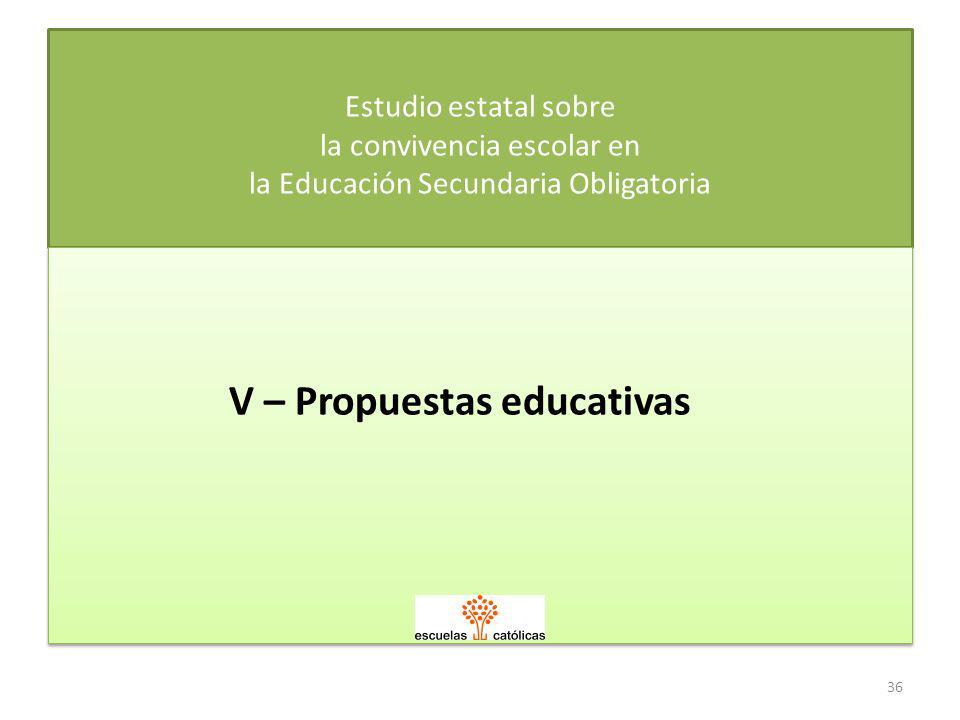 36 Estudio estatal sobre la convivencia escolar en la Educación Secundaria Obligatoria V – Propuestas educativas