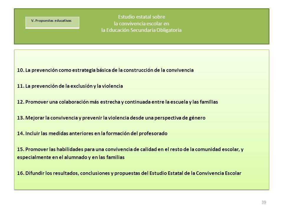 10. La prevención como estrategia básica de la construcción de la convivencia 11. La prevención de la exclusión y la violencia 12. Promover una colabo