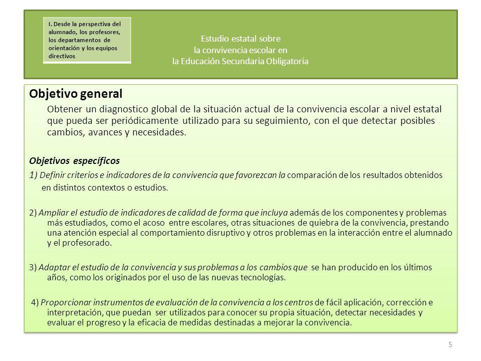 Objetivo general Obtener un diagnostico global de la situación actual de la convivencia escolar a nivel estatal que pueda ser periódicamente utilizado