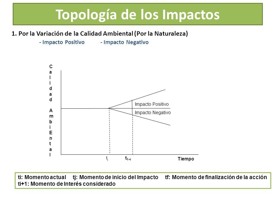 Topología de los Impactos 1. Por la Variación de la Calidad Ambiental (Por la Naturaleza) - Impacto Positivo - Impacto Negativo CalidadAmbiEntalCalida