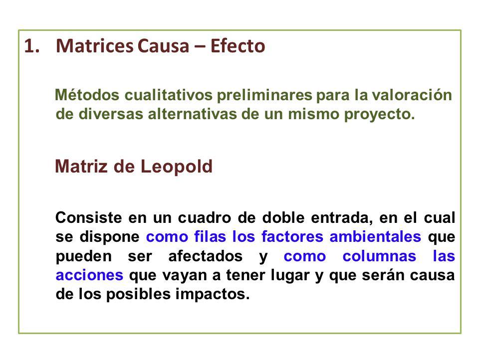1.Matrices Causa – Efecto Métodos cualitativos preliminares para la valoración de diversas alternativas de un mismo proyecto. Matriz de Leopold Consis