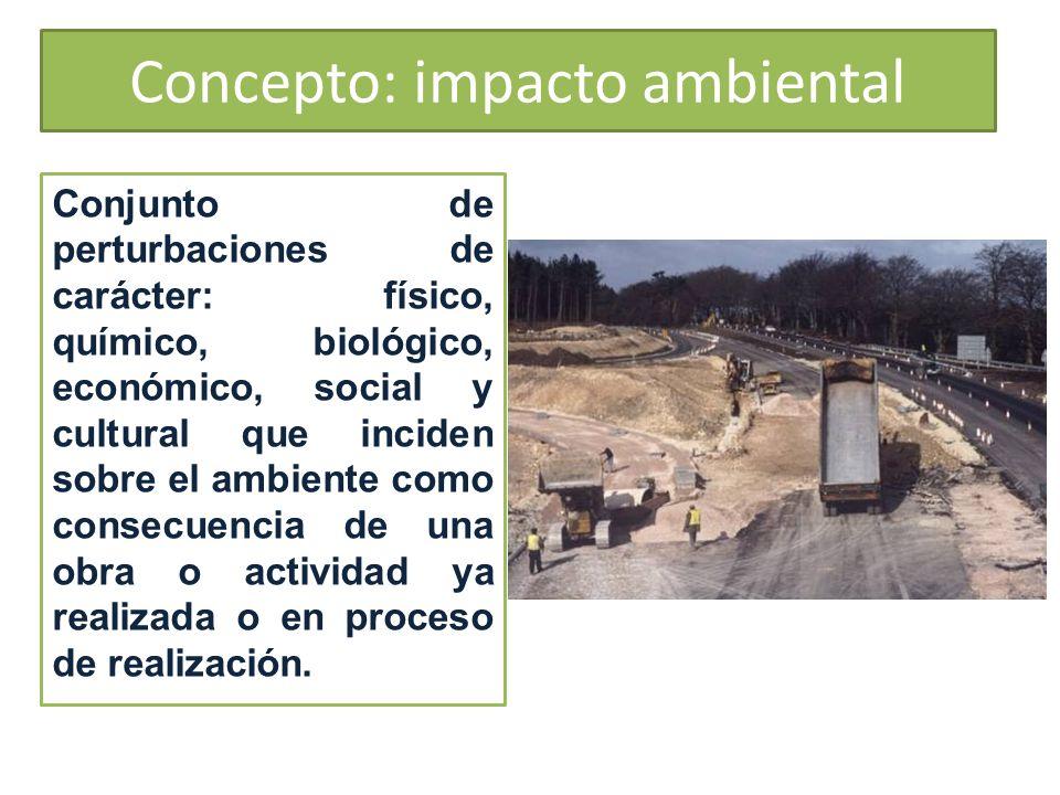 Concepto: impacto ambiental Conjunto de perturbaciones de carácter: físico, químico, biológico, económico, social y cultural que inciden sobre el ambi
