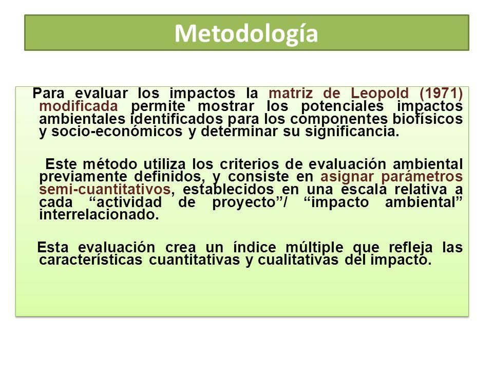 Metodología Para evaluar los impactos la matriz de Leopold (1971) modificada permite mostrar los potenciales impactos ambientales identificados para l