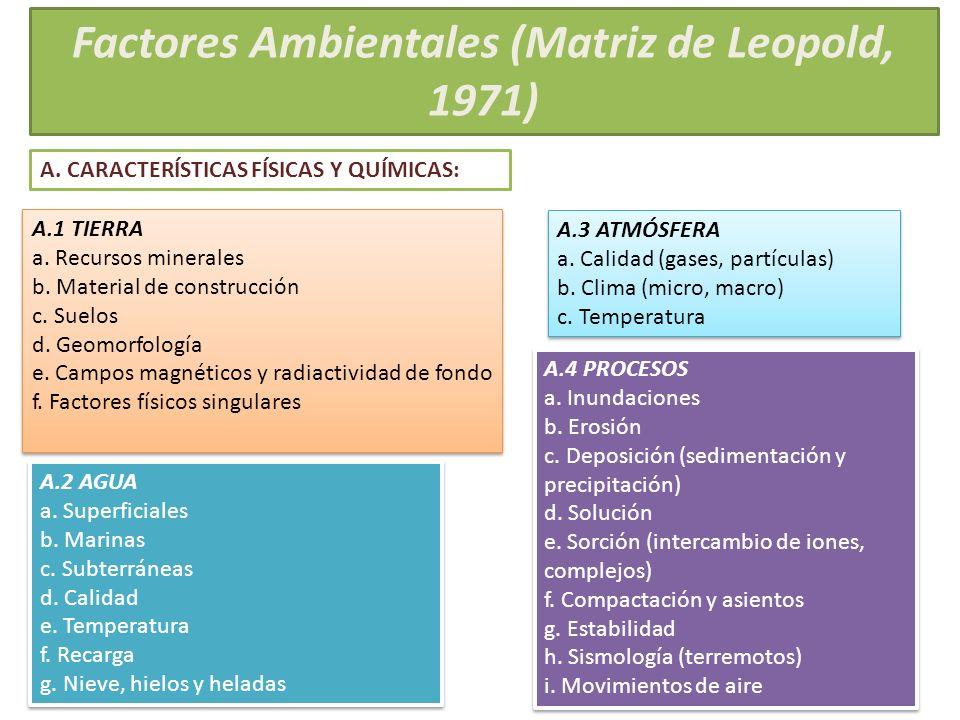 Factores Ambientales (Matriz de Leopold, 1971) A.1 TIERRA a. Recursos minerales b. Material de construcción c. Suelos d. Geomorfología e. Campos magné
