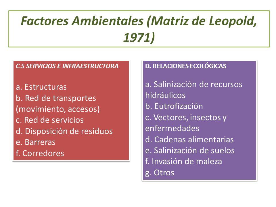 Factores Ambientales (Matriz de Leopold, 1971) C.5 SERVICIOS E INFRAESTRUCTURA a. Estructuras b. Red de transportes (movimiento, accesos) c. Red de se