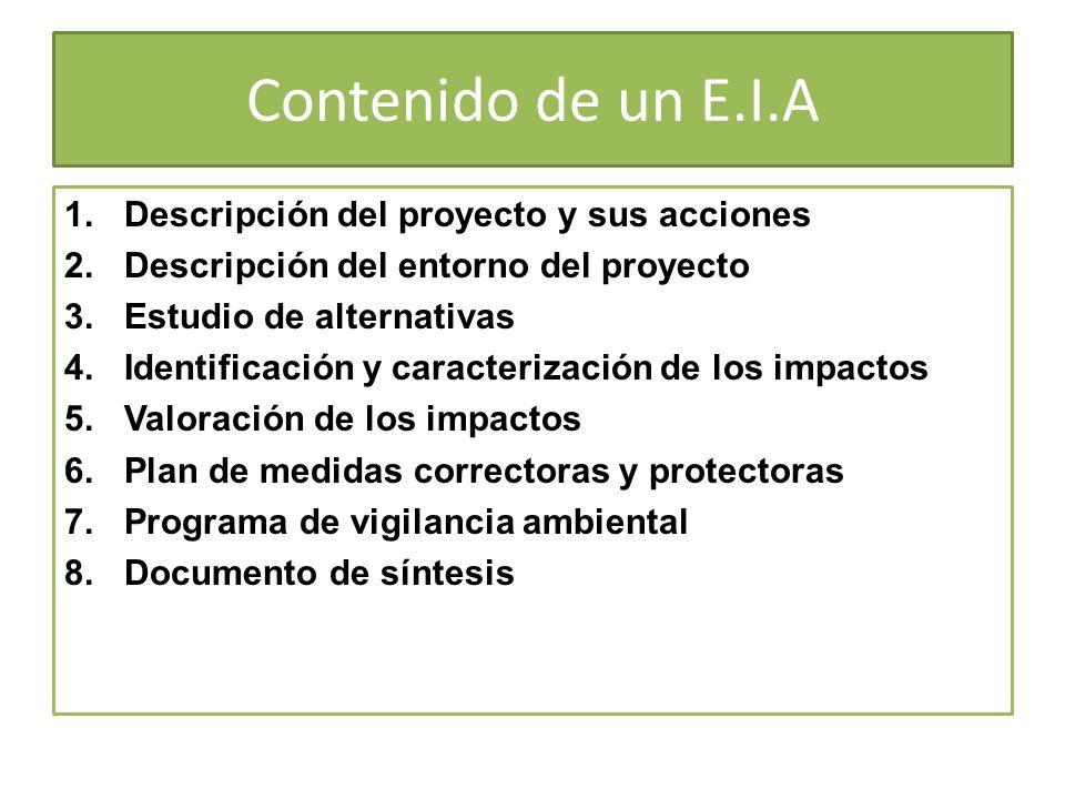 Contenido de un E.I.A 1.Descripción del proyecto y sus acciones 2.Descripción del entorno del proyecto 3.Estudio de alternativas 4.Identificación y ca