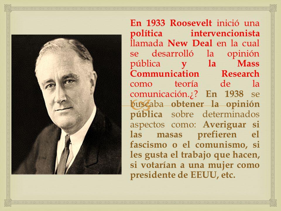 New Deal (1933- 1938): Nuevo trato.