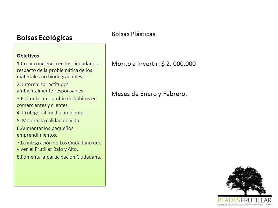 Bolsas Ecológicas Bolsas Plásticas Monto a Invertir: $ 2. 000.000 Meses de Enero y Febrero. Objetivos 1.Crear conciencia en los ciudadanos respecto de