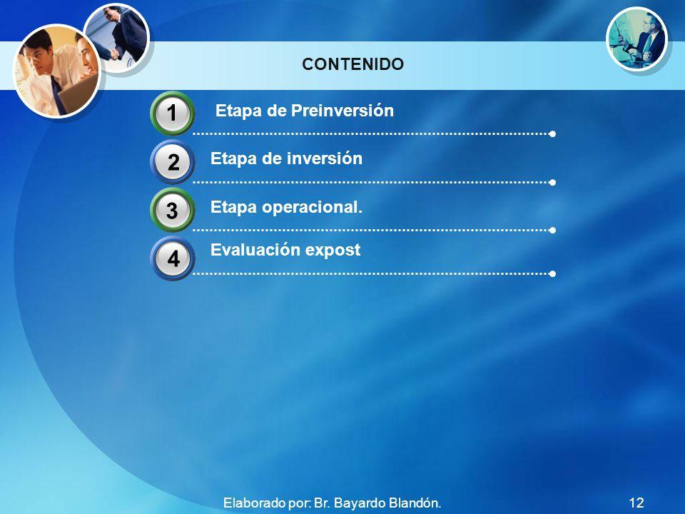 CONTENIDO Etapa de Preinversión Etapa de inversión Etapa operacional. Evaluación expost 1 2 4 33 12Elaborado por: Br. Bayardo Blandón.