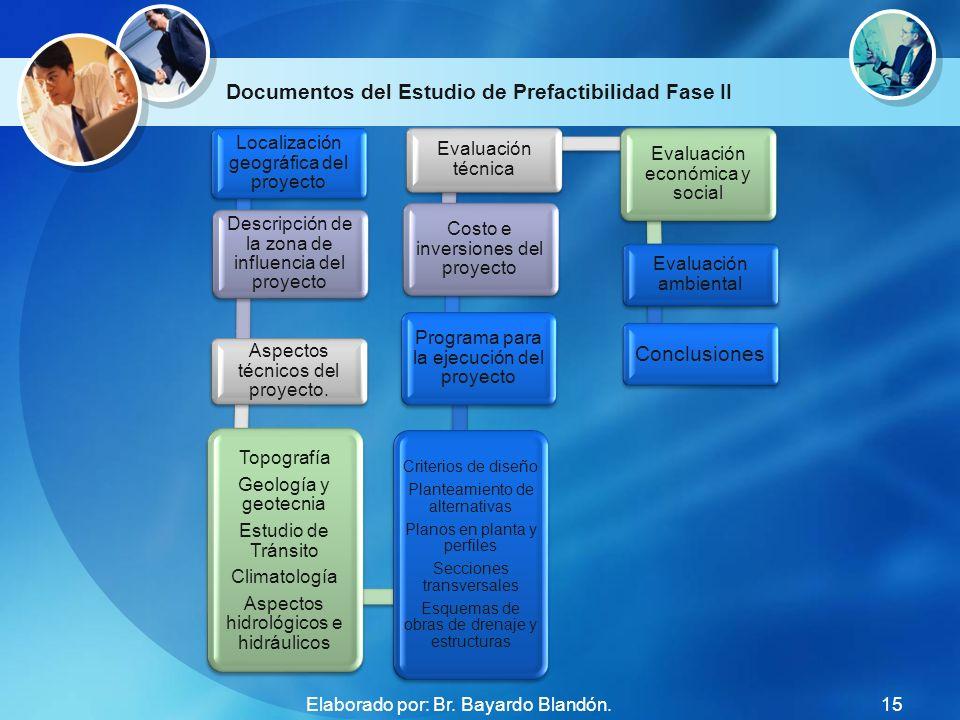 Documentos del Estudio de Prefactibilidad Fase II Localización geográfica del proyecto Descripción de la zona de influencia del proyecto Aspectos técn