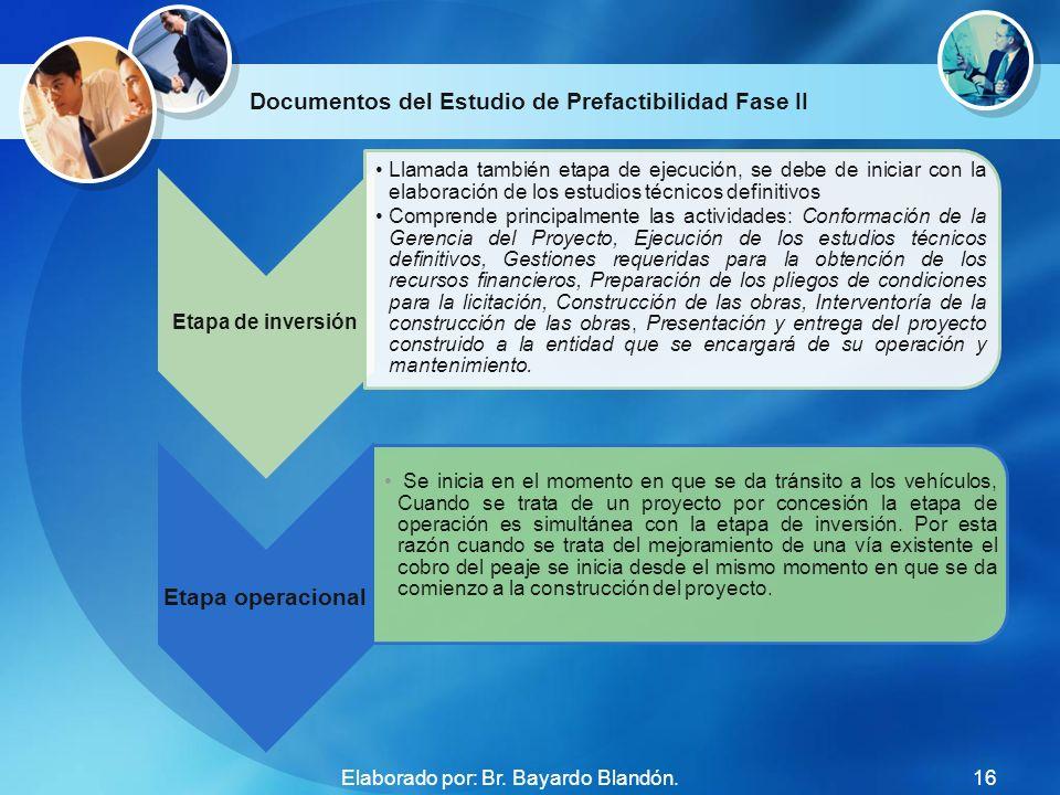 Documentos del Estudio de Prefactibilidad Fase II Etapa de inversión Llamada también etapa de ejecución, se debe de iniciar con la elaboración de los