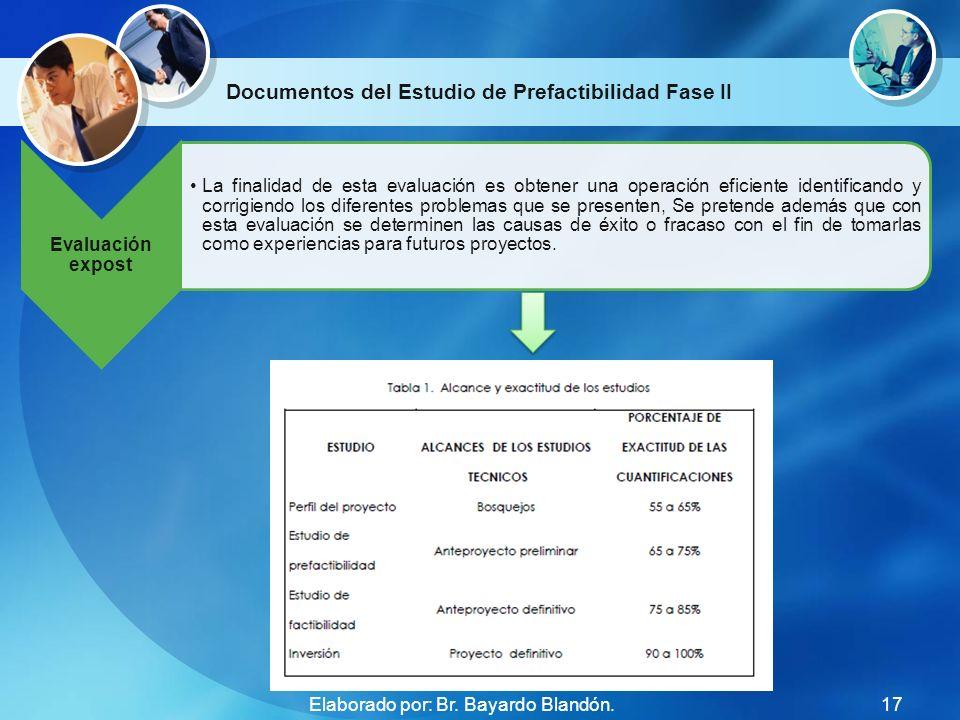 Documentos del Estudio de Prefactibilidad Fase II Evaluación expost La finalidad de esta evaluación es obtener una operación eficiente identificando y