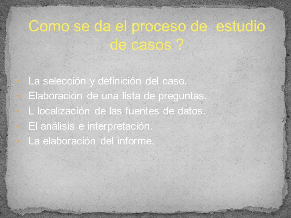 La selección y definición del caso. Elaboración de una lista de preguntas. L localización de las fuentes de datos. El análisis e interpretación. La el