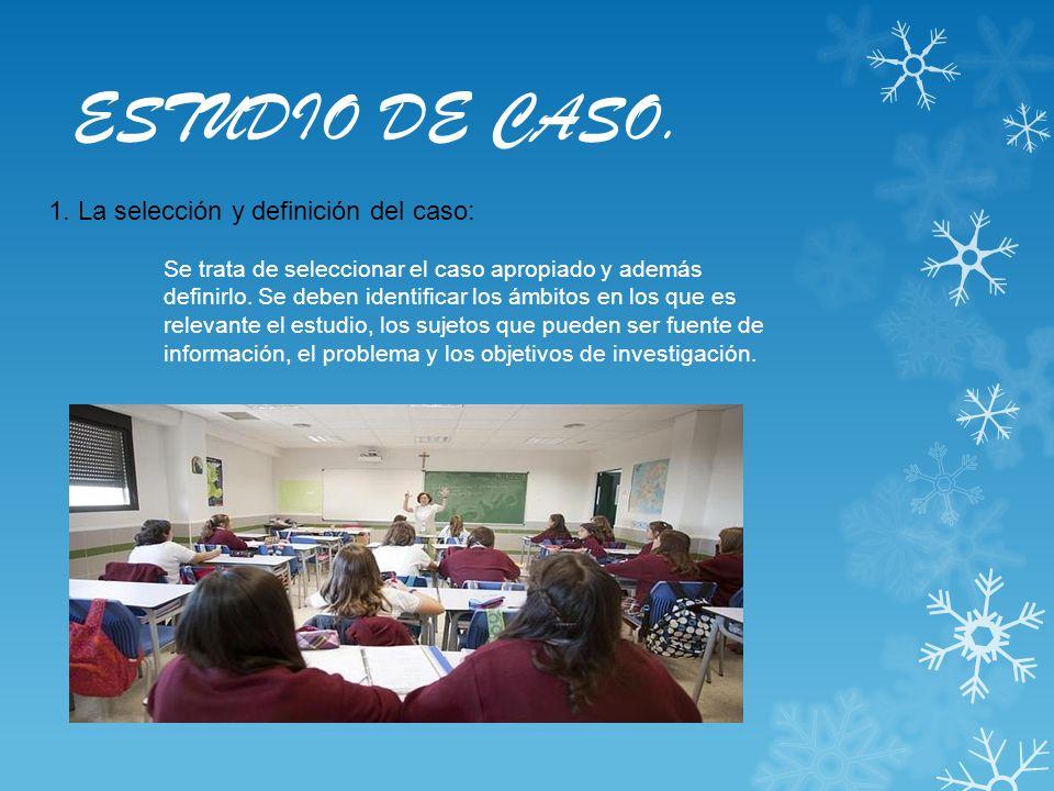 ESTUDIO DE CASO. 1. La selección y definición del caso: Se trata de seleccionar el caso apropiado y además definirlo. Se deben identificar los ámbitos