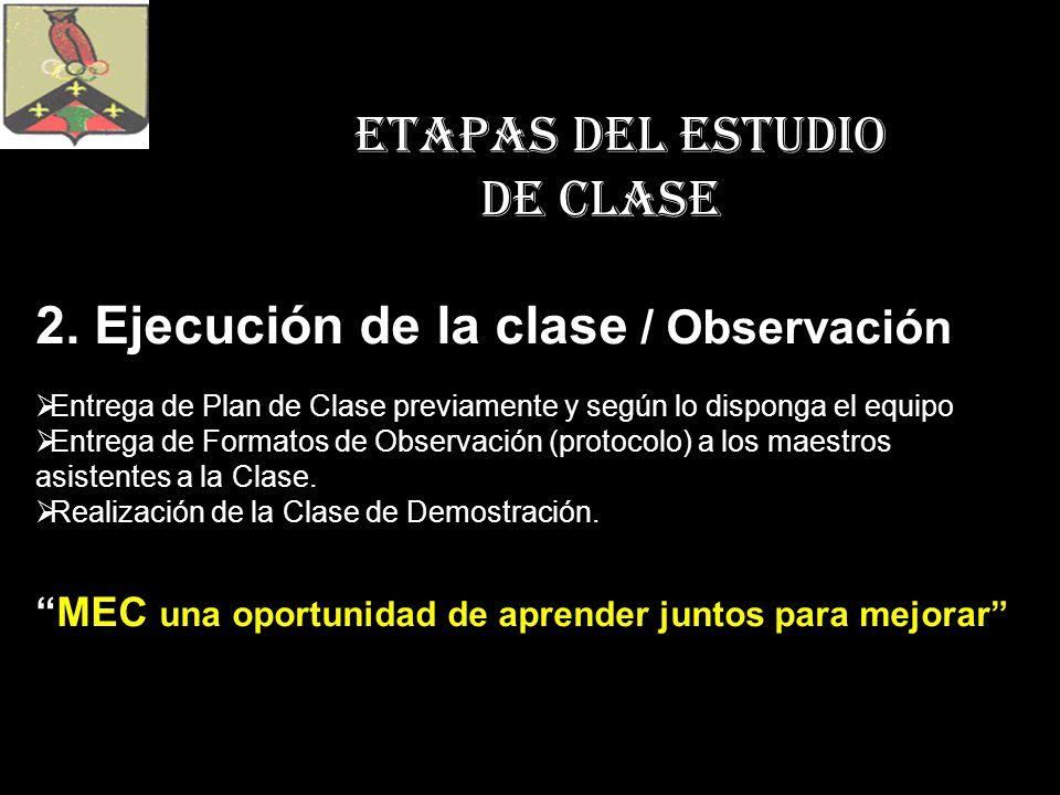 ETAPAS DEL ESTUDIO DE CLASE 2. Ejecución de la clase / Observación Entrega de Plan de Clase previamente y según lo disponga el equipo Entrega de Forma