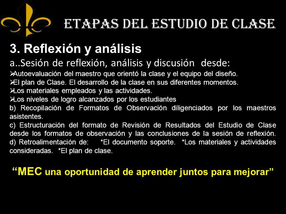 ETAPAS DEL ESTUDIO DE CLASE 3. Reflexión y análisis a..Sesión de reflexión, análisis y discusión desde: Autoevaluación del maestro que orientó la clas