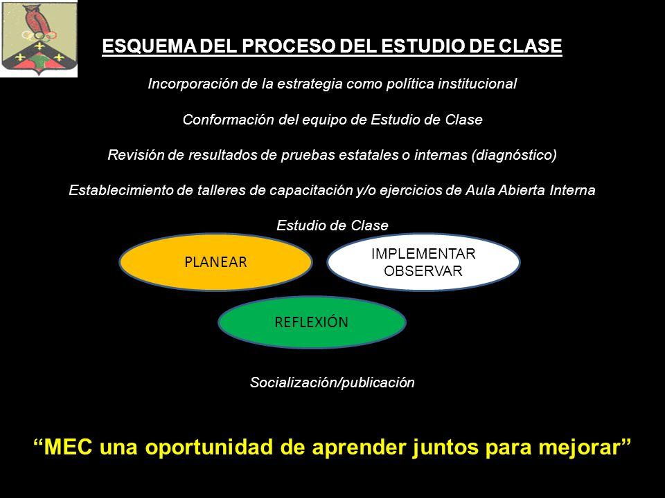 ESQUEMA DEL PROCESO DEL ESTUDIO DE CLASE Incorporación de la estrategia como política institucional Conformación del equipo de Estudio de Clase Revisi