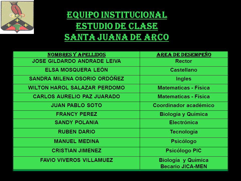 EQUIPO INSTITUCIONAL ESTUDIO DE CLASE SANTA JUANA DE ARCO