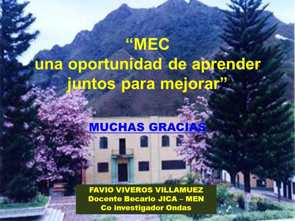 MEC una oportunidad de aprender juntos para mejorar MUCHAS GRACIAS FAVIO VIVEROS VILLAMUEZ Docente Becario JICA – MEN Co investigador Ondas