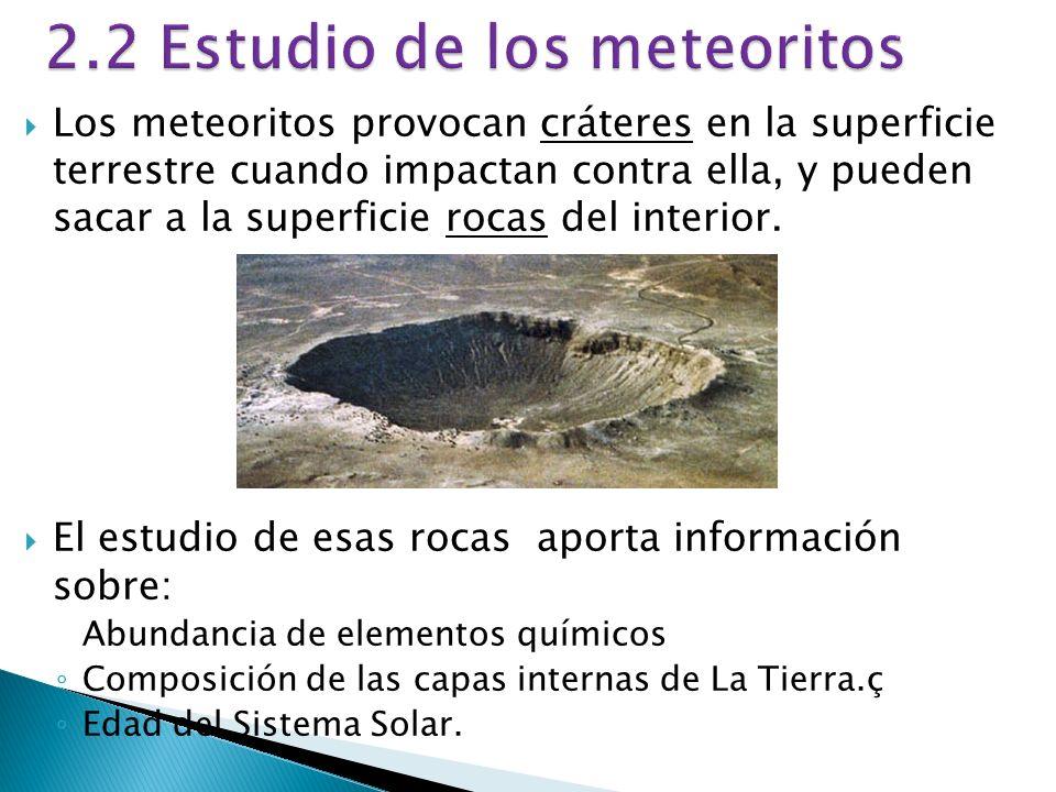 2.2 Estudio de los meteoritos Los meteoritos provocan cráteres en la superficie terrestre cuando impactan contra ella, y pueden sacar a la superficie rocas del interior.