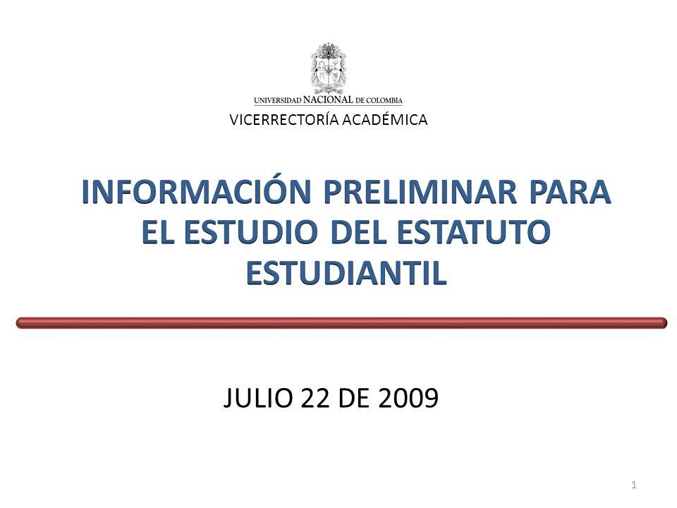 JULIO 22 DE 2009 VICERRECTORÍA ACADÉMICA 1