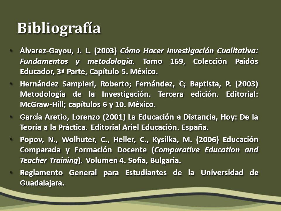 BibliografíaBibliografía Álvarez-Gayou, J. L.