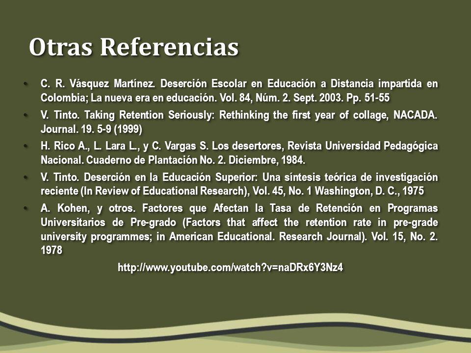 Otras Referencias C. R. Vásquez Martínez.