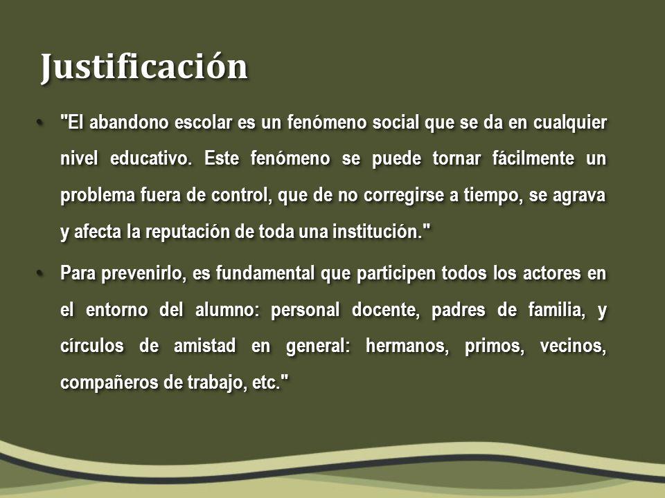 JustificaciónJustificación El abandono escolar es un fenómeno social que se da en cualquier nivel educativo.