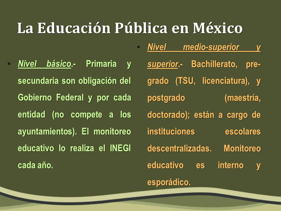 La Educación Pública en México Nivel básico.- Primaria y secundaria son obligación del Gobierno Federal y por cada entidad (no compete a los ayuntamientos).