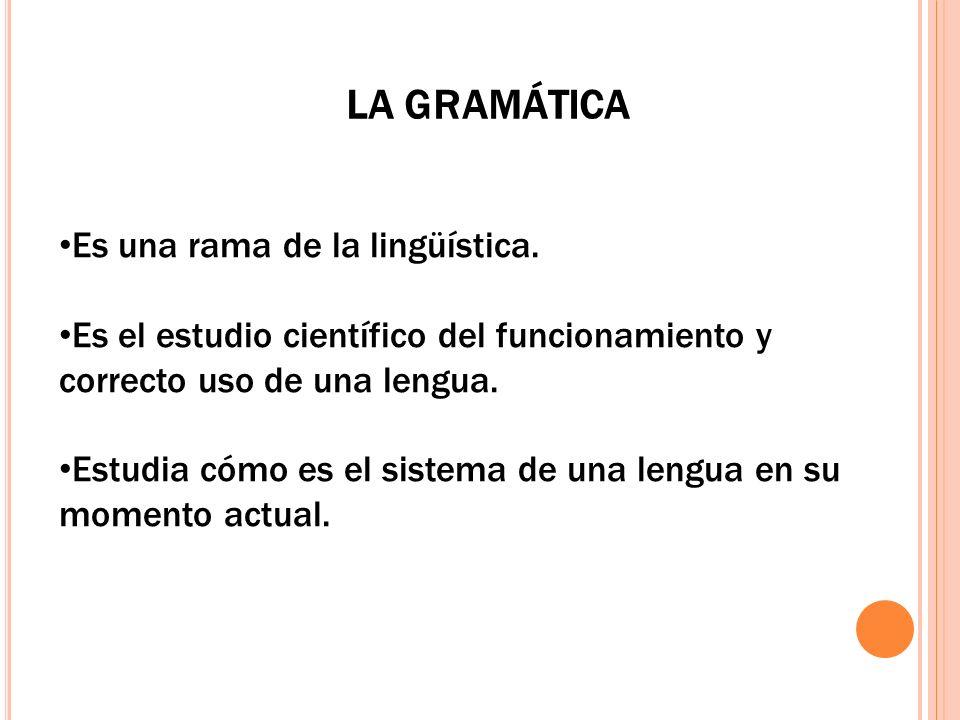 Es una rama de la lingüística. Es el estudio científico del funcionamiento y correcto uso de una lengua. Estudia cómo es el sistema de una lengua en s