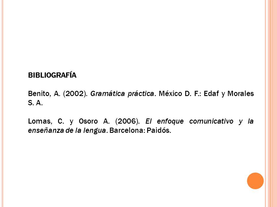 BIBLIOGRAFÍA Benito, A. (2002). Gramática práctica. México D. F.: Edaf y Morales S. A. Lomas, C. y Osoro A. (2006). El enfoque comunicativo y la enseñ
