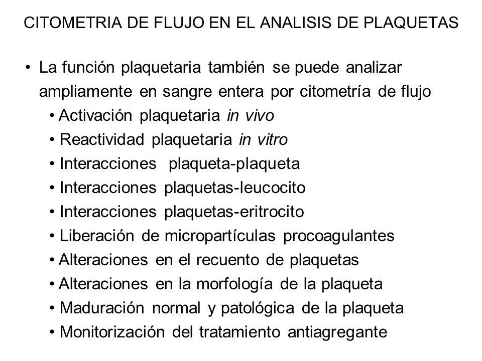 La función plaquetaria también se puede analizar ampliamente en sangre entera por citometría de flujo Activación plaquetaria in vivo Reactividad plaqu