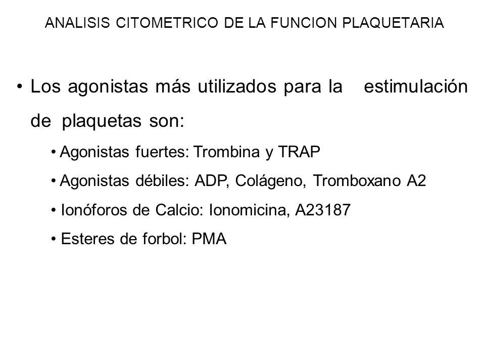 Los agonistas más utilizados para la estimulación de plaquetas son: Agonistas fuertes: Trombina y TRAP Agonistas débiles: ADP, Colágeno, Tromboxano A2