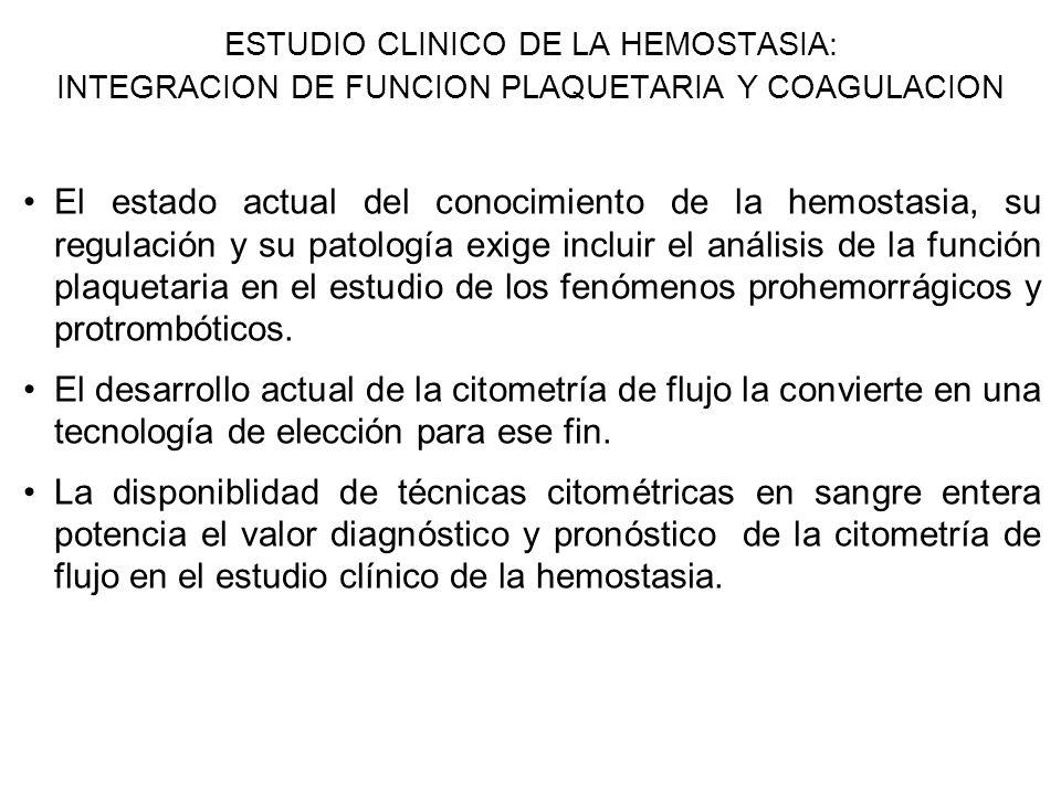 ESTUDIO CLINICO DE LA HEMOSTASIA: INTEGRACION DE FUNCION PLAQUETARIA Y COAGULACION El estado actual del conocimiento de la hemostasia, su regulación y