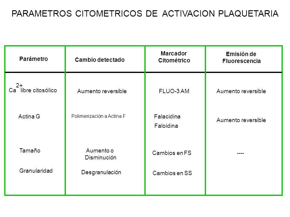PARAMETROS CITOMETRICOS DE ACTIVACION PLAQUETARIA Parámetro Ca libre citosólico 2+ Actina G Cambio detectado Aumento reversible Polimerización a Actin