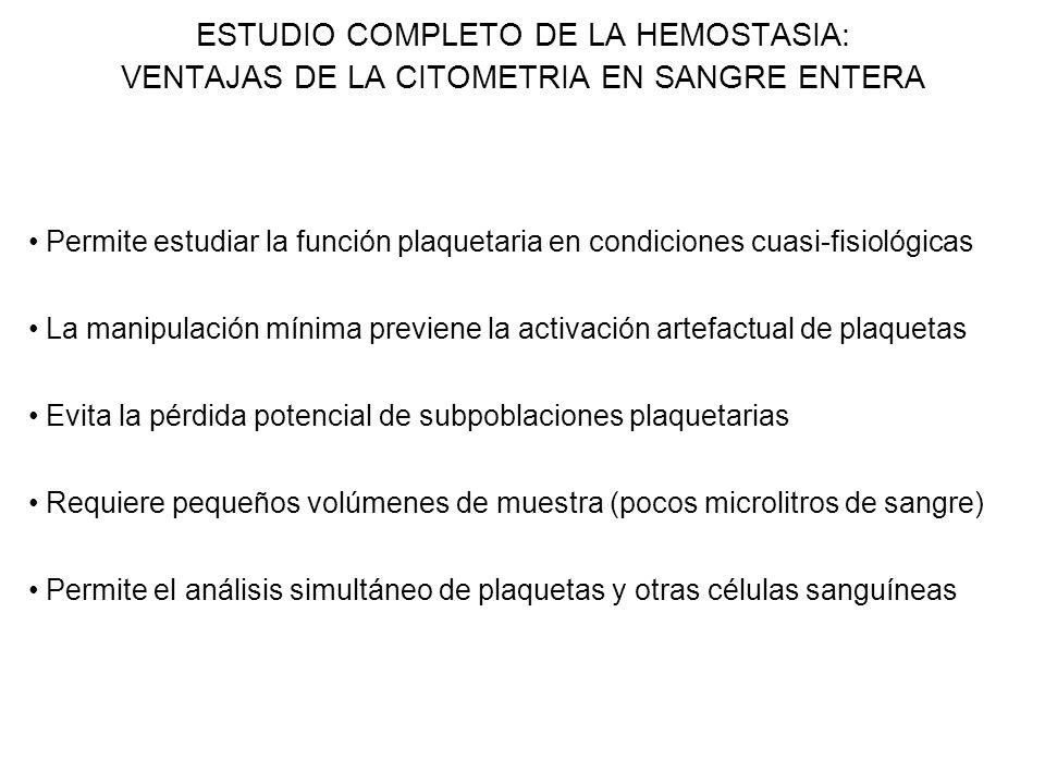 ESTUDIO COMPLETO DE LA HEMOSTASIA: VENTAJAS DE LA CITOMETRIA EN SANGRE ENTERA Permite estudiar la función plaquetaria en condiciones cuasi-fisiológica