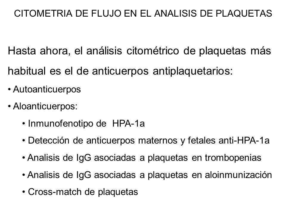 CITOMETRIA DE FLUJO EN EL ANALISIS DE PLAQUETAS Hasta ahora, el análisis citométrico de plaquetas más habitual es el de anticuerpos antiplaquetarios: