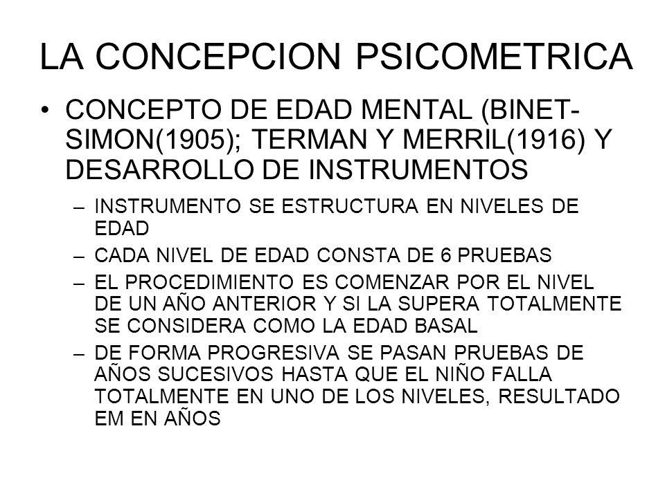 LA CONCEPCION PSICOMETRICA CONCEPTO DE EDAD MENTAL (BINET- SIMON(1905); TERMAN Y MERRIL(1916) Y DESARROLLO DE INSTRUMENTOS –INSTRUMENTO SE ESTRUCTURA EN NIVELES DE EDAD –CADA NIVEL DE EDAD CONSTA DE 6 PRUEBAS –EL PROCEDIMIENTO ES COMENZAR POR EL NIVEL DE UN AÑO ANTERIOR Y SI LA SUPERA TOTALMENTE SE CONSIDERA COMO LA EDAD BASAL –DE FORMA PROGRESIVA SE PASAN PRUEBAS DE AÑOS SUCESIVOS HASTA QUE EL NIÑO FALLA TOTALMENTE EN UNO DE LOS NIVELES, RESULTADO EM EN AÑOS