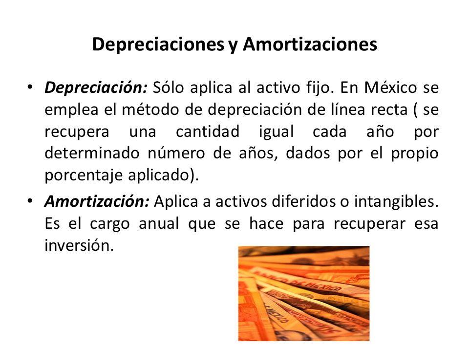 Depreciaciones y Amortizaciones Depreciación: Sólo aplica al activo fijo. En México se emplea el método de depreciación de línea recta ( se recupera u
