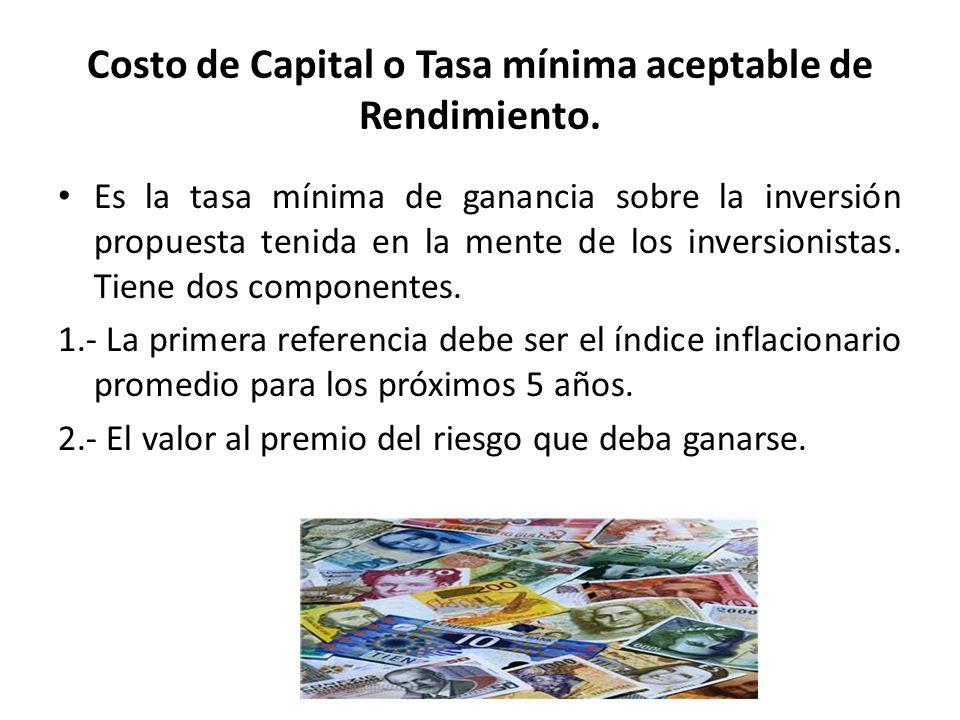 Costo de Capital o Tasa mínima aceptable de Rendimiento. Es la tasa mínima de ganancia sobre la inversión propuesta tenida en la mente de los inversio