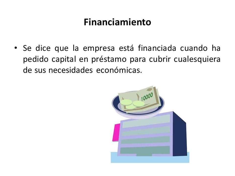 Financiamiento Se dice que la empresa está financiada cuando ha pedido capital en préstamo para cubrir cualesquiera de sus necesidades económicas.