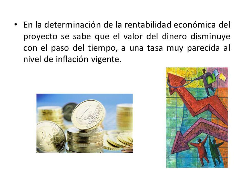 En la determinación de la rentabilidad económica del proyecto se sabe que el valor del dinero disminuye con el paso del tiempo, a una tasa muy parecid