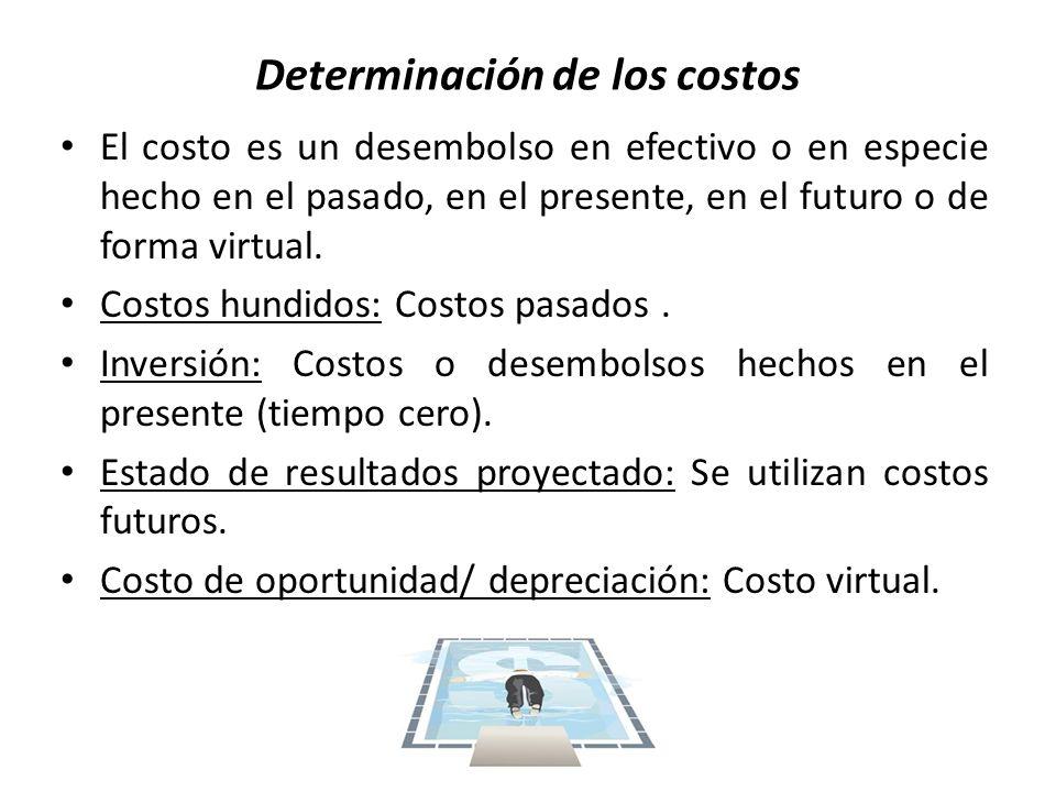 Determinación de los costos El costo es un desembolso en efectivo o en especie hecho en el pasado, en el presente, en el futuro o de forma virtual. Co
