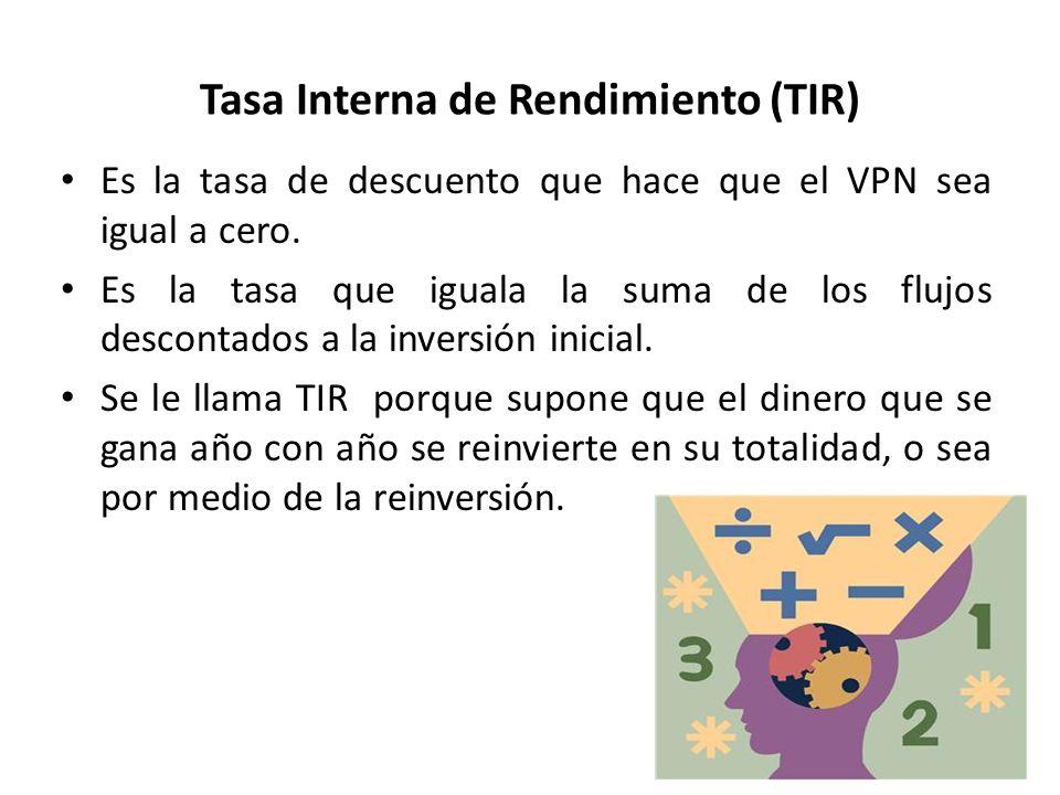 Tasa Interna de Rendimiento (TIR) Es la tasa de descuento que hace que el VPN sea igual a cero. Es la tasa que iguala la suma de los flujos descontado