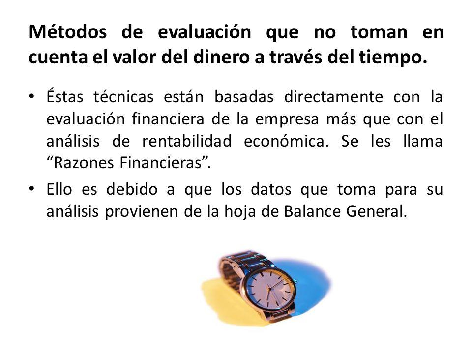 Métodos de evaluación que no toman en cuenta el valor del dinero a través del tiempo. Éstas técnicas están basadas directamente con la evaluación fina