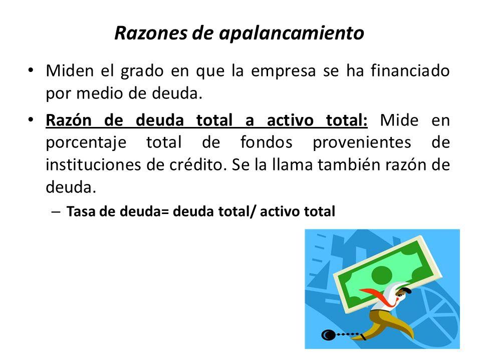Razones de apalancamiento Miden el grado en que la empresa se ha financiado por medio de deuda. Razón de deuda total a activo total: Mide en porcentaj