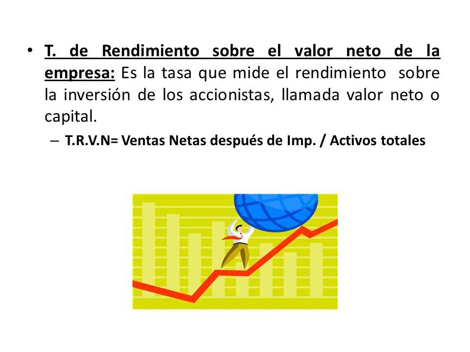 T. de Rendimiento sobre el valor neto de la empresa: Es la tasa que mide el rendimiento sobre la inversión de los accionistas, llamada valor neto o ca