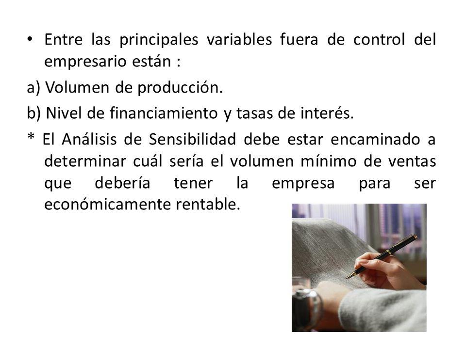 Entre las principales variables fuera de control del empresario están : a) Volumen de producción. b) Nivel de financiamiento y tasas de interés. * El
