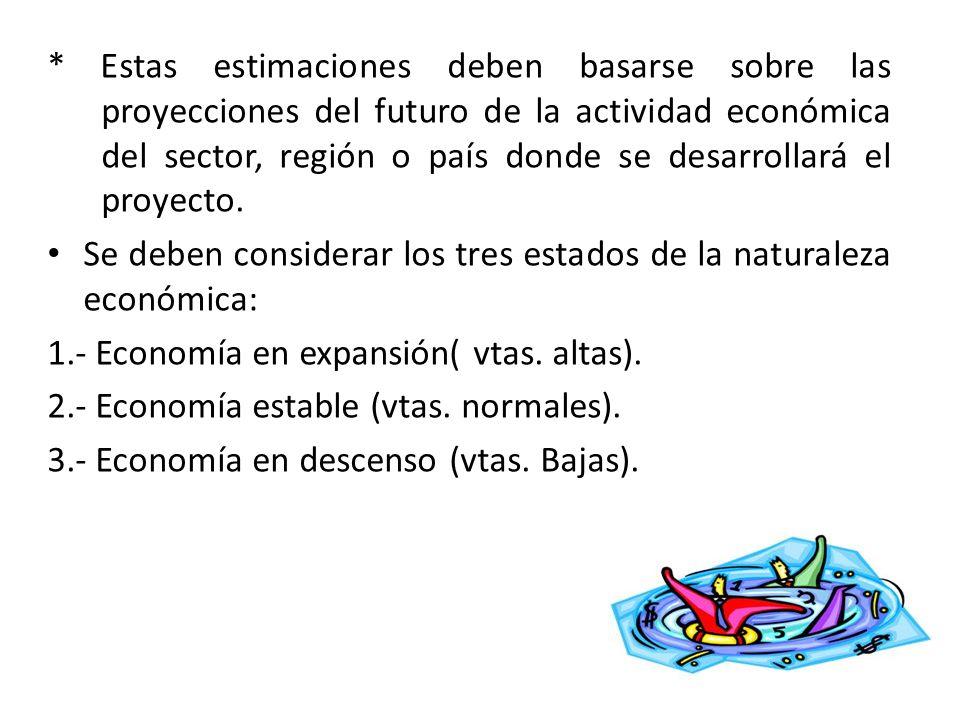 * Estas estimaciones deben basarse sobre las proyecciones del futuro de la actividad económica del sector, región o país donde se desarrollará el proy