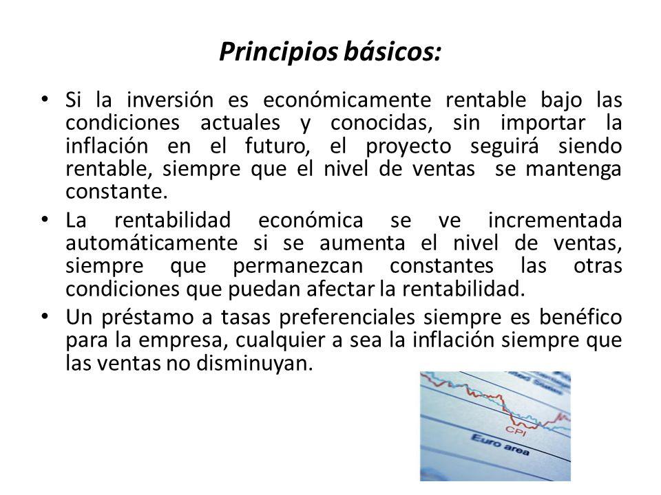 Principios básicos: Si la inversión es económicamente rentable bajo las condiciones actuales y conocidas, sin importar la inflación en el futuro, el p
